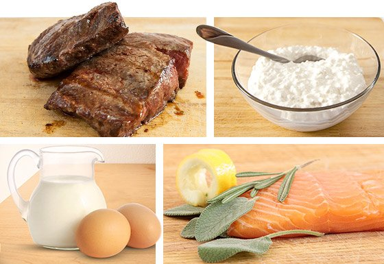 The proteins you want to eat are complete proteins such as lean red meat, cottage cheese, milk, eggs, and fish.