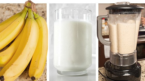 My choice for drinking the chocolate protein was to mix it in a blender with one banana and with milk.