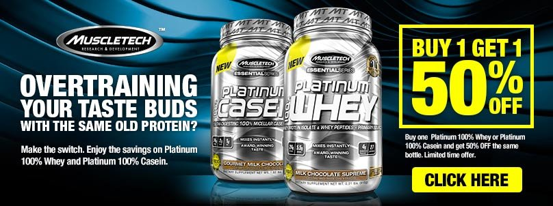 100% Casein or 100% Whey 50% OFF!