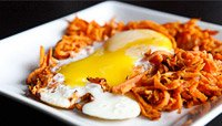 SWEET POTATO HASH WITH EGG AND ALMOND-COCONUT WAFFLE