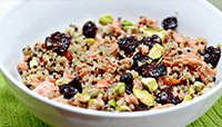 CHERRY, PISTACHIO, AND SALMON QUINOA SALAD