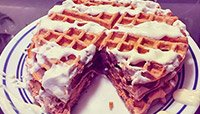 RED VELVET WAFFLES AND CREAM CHEESE FROSTING