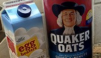 Egg whites and oatmeal shake