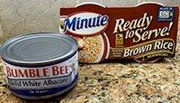 Light tuna and microwaveable brown rice