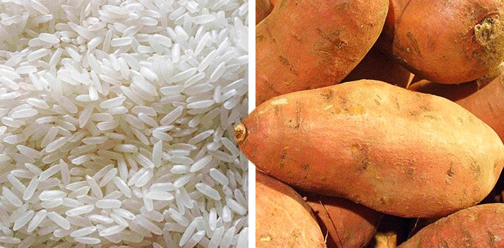 Rice is good for pre-workout, and potatoes are a good choice for post-workout carbs.