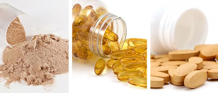 Recommended supplements include, protein powder, fish oil, and multivitamins.
