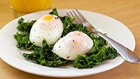 Poached Eggs Over Kale