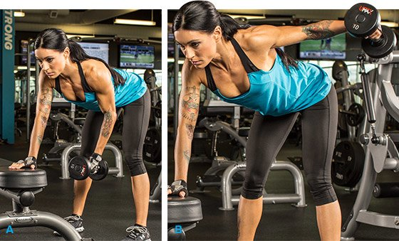 Standing Bent-Over With One Arm Using A Dumbbell