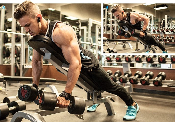 E Dumbbell Incline Bench Row