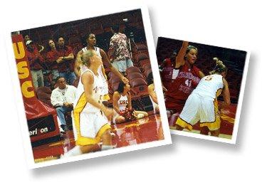 Ashley Conrad playing college basketball