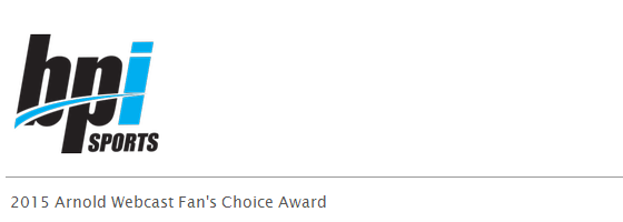 2015 Arnold Webcast Fan's Choice Award