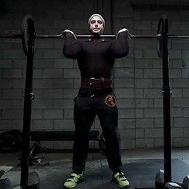 Front-to-back squat with belt