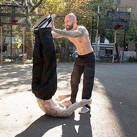 Leg raise throw-down