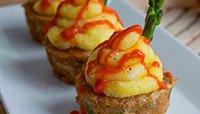 Turkey Sriracha Muffins With Polenta Frosting