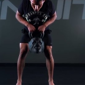 Two-handed single kettlebell row