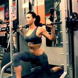 Smith machine reverse lunge