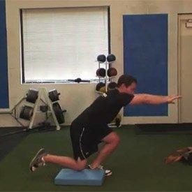 Single-leg squat with knee tap