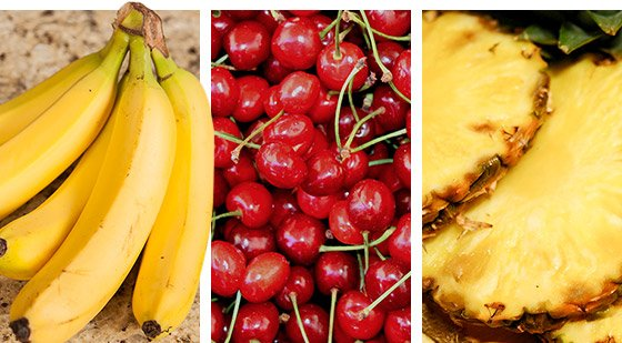 Focus on eating the highest carbohydrate-rich fruits available, including bananas, cherries, and pineapples.