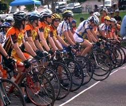 Women cyclists on the starting line