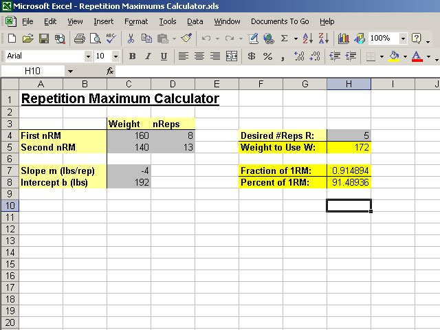 Creating A Repetition Maximums Calculator