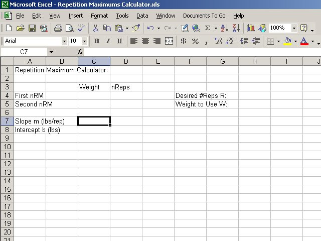 Creating a repetition maximums calculator for Bodybuilding excel template