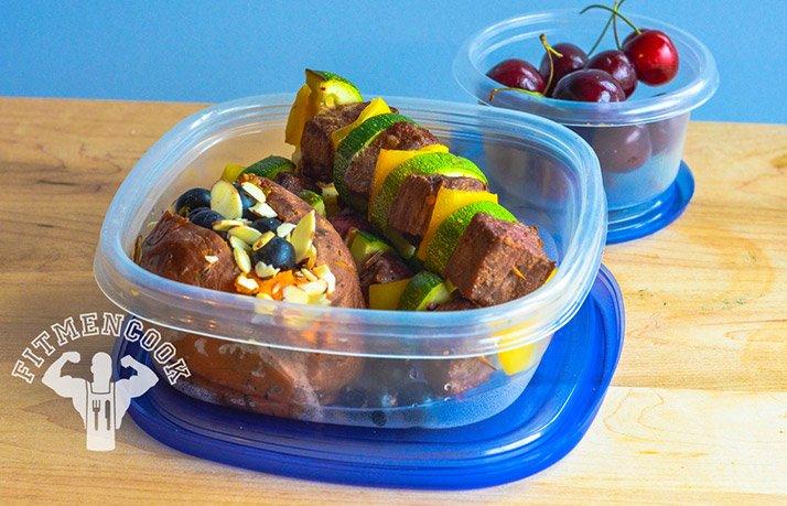 Spicy Flank Steak Kabobs with Sweet Potato
