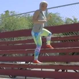 Bleacher squat-climb (left)
