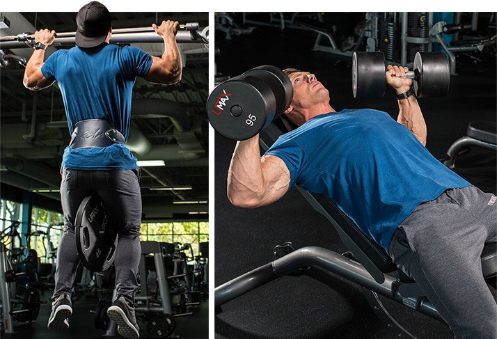 Weighted Pull Up Incline Dumbbell Press