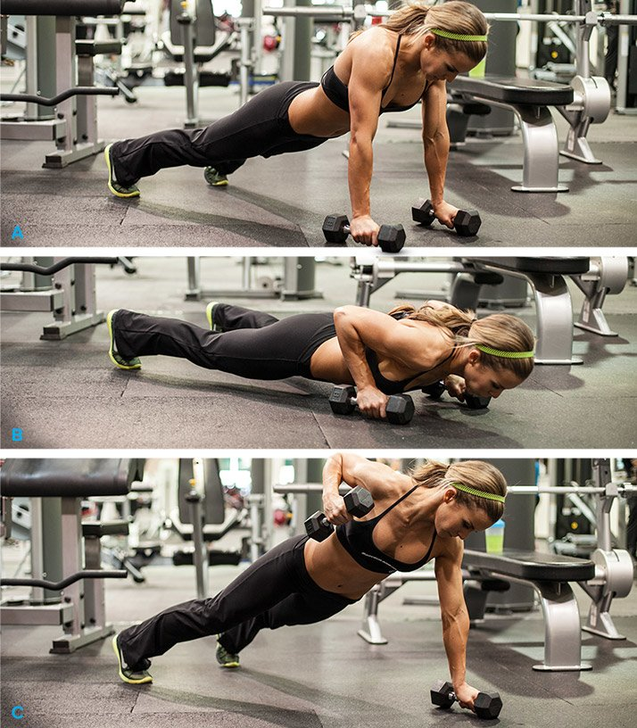 Dumbbell Push-up With Single-Arm Row