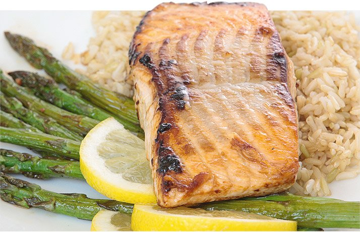 Salmon is protein-rich and full of monounsaturated fats--it's a perfect food for a high-fat meal