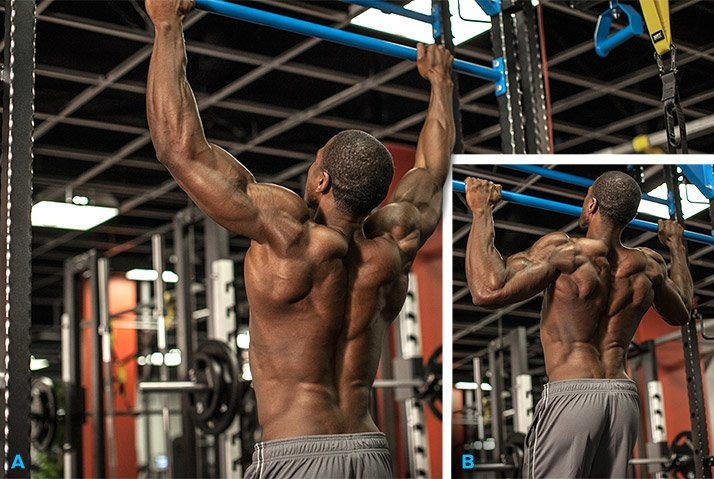 Wide-grip Pullups