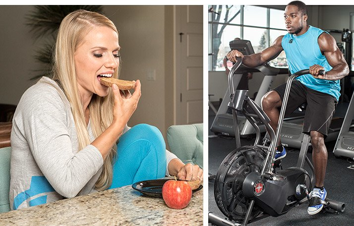 Instead of starving yourself the entire day, start your day off the way you usually do, with your healthy breakfast and some cardio.