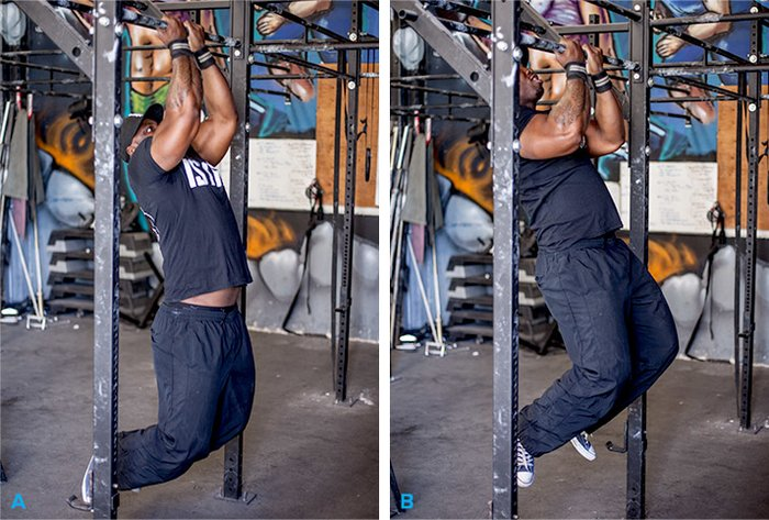 Perform A Chin Up In Three Positions Wide Grip Normal And Close Make Sure Your Palms Face Toward You To Emphasize The Biceps