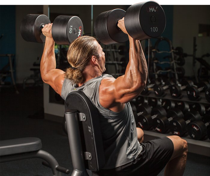 5 best shoulder workouts for mass an intermediate guide seated overhead dumbbell press publicscrutiny Gallery