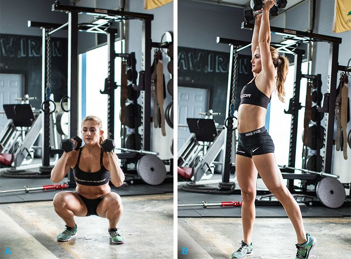 Dumbbell front squat to rotational press Dumbbell Front Squats