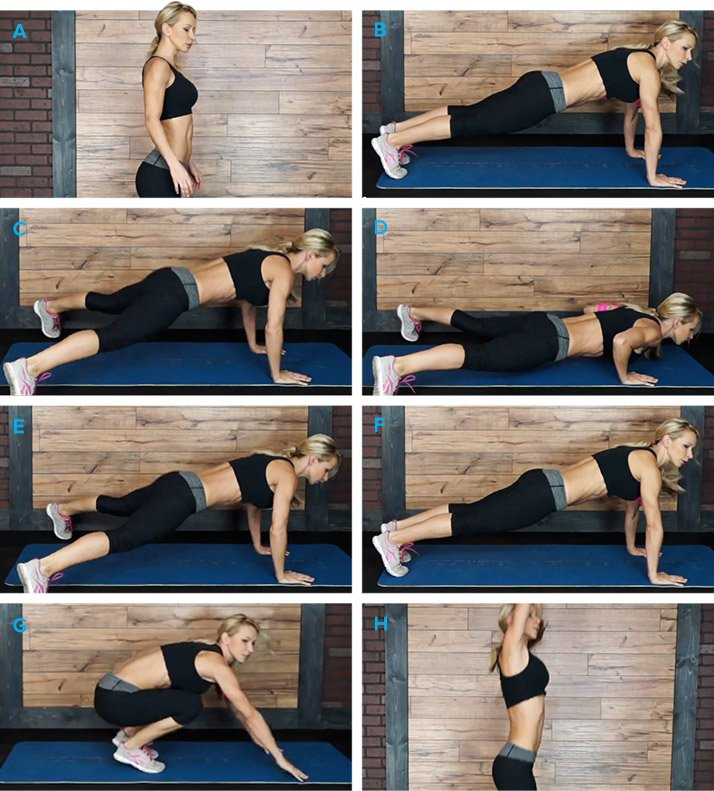 push-up and jack burpees