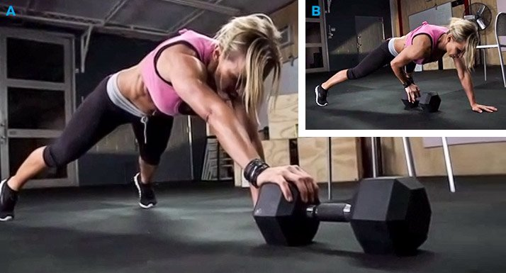 Plank Pull With Dumbbell