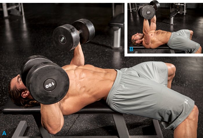 Flat Bench Dumbbell Press. In your workout: ...