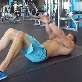 Straight-arm floor crunch