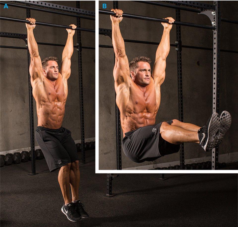 Hanging knee raises with medicine ball - Hanging Leg Raise