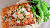 PAN-SEARED SALMON WITH PICO AND MIXED GREENS