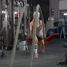 Split-squat jump with rope slam