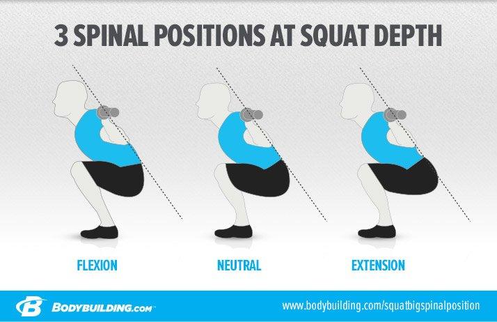 3 spinal positions at squat depth