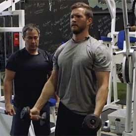 45-degree dumbbell shoulder raise