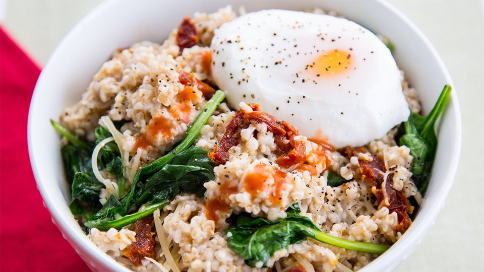 Egg And Baby Spinach Oats