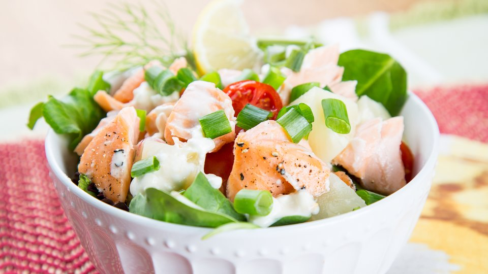 Salmon Salad with Cottage Cheese Dressing