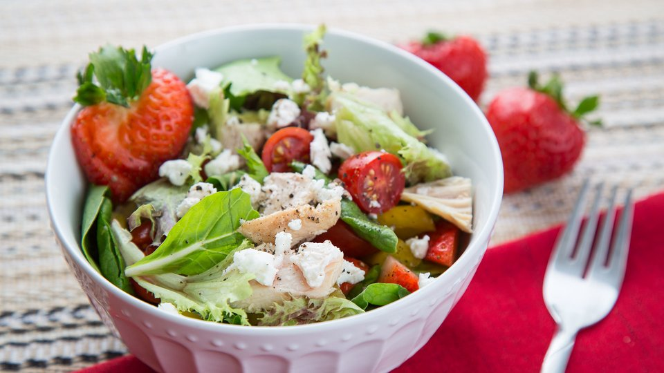 Chicken Strawberry Salad With Cacao Nib Dressing