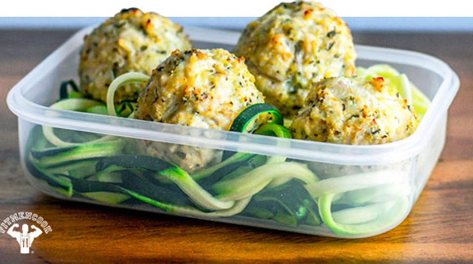 Savory Chicken Meatballs With Zucchini Pasta