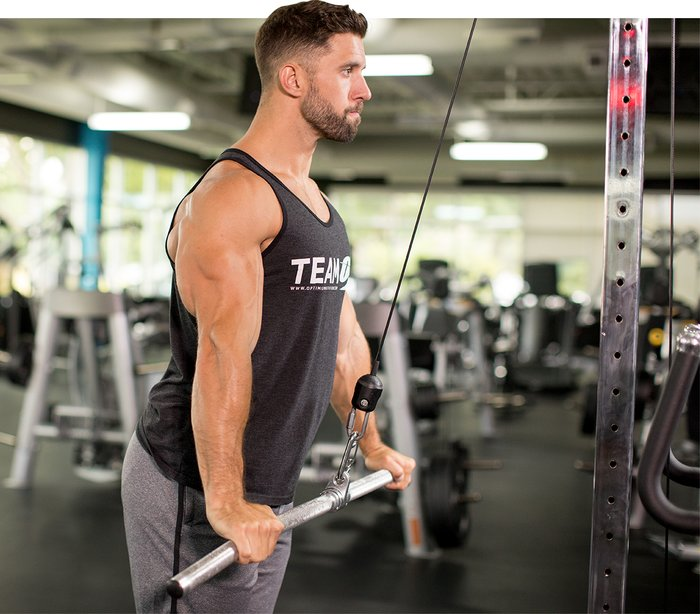 Wide Grip Triceps Push Down