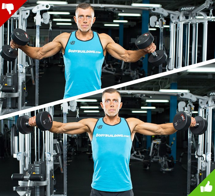 Dumbbell lateral raise, right way and wrong way